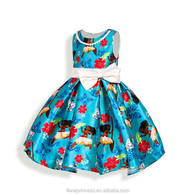 2style MOANA Girls Dresses Irregular Sleeveless Princess Dress With Beading Necklace Kids Party Clothes 2017 Beading Necklace