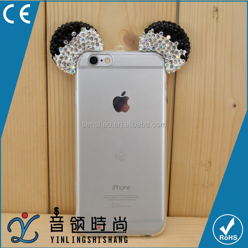 New Arrivals for Disney Style 3d Diamond Glitter Bling Mickey Mouse Ears Phone Cover Case For Iphone 6/6ps with necklace