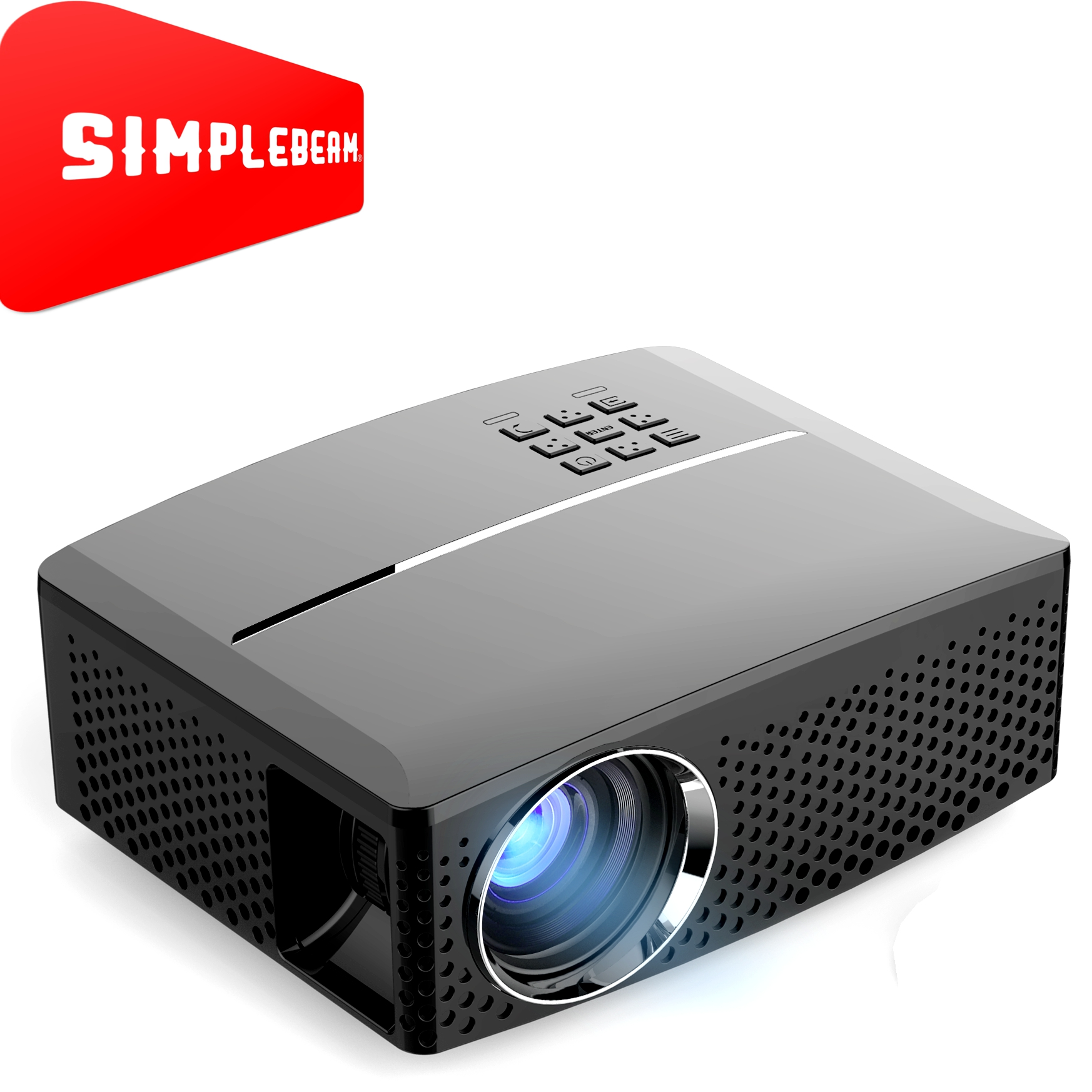 OEM New simplebeam new GP80 LED Portable Projector,1800LMS,800x480P for small Cineme better than 3D Projector