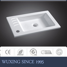 make in China artificial stone Hangzhou Wuxing WX-6017 kitchen sink with double drain boards