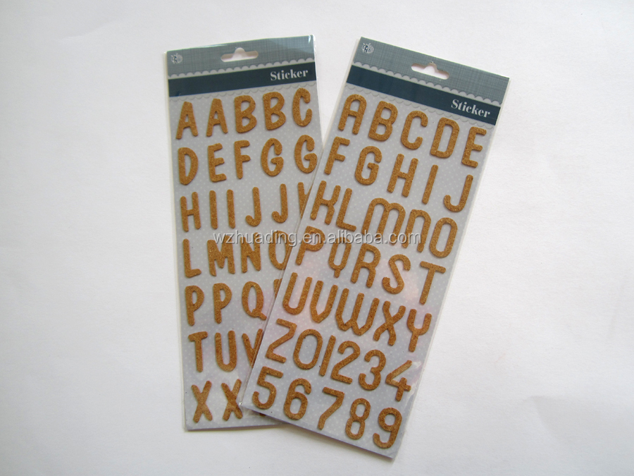Order rubber cork sheet alphabet letter sticker ,3D wall sticker