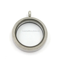 Silver Matte 316L Stainless Steel Clear Glass Floating Locket