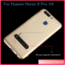 [Soar]High Copy Carbon Fiber Strong Magnetic Kickstand Soft TPU Silicone Cell Phone Case For Huawei Honor 8 Pro V9