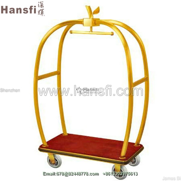 high quality elegant gold color hotel bellman luggage cart