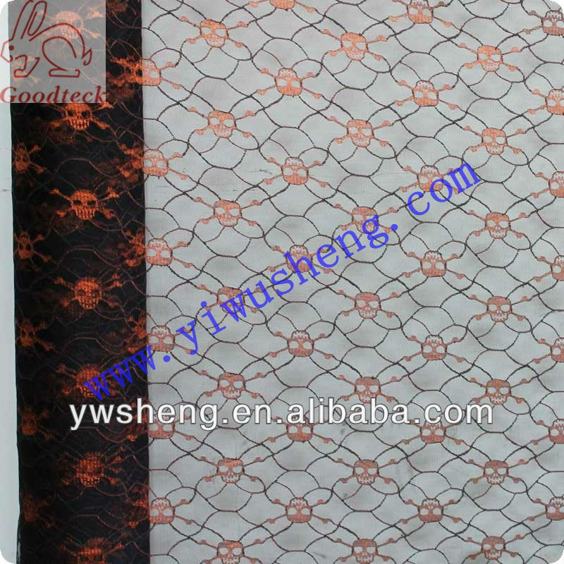 Wholesale 100% nylon or polyester tulle mesh fabric with orange ghost