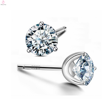 Handmade Small Beads Crystal 925 Sterling Silver Zirconia Cz Stud Earrings