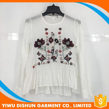 Oem long sleeve women embroidery rayon blouse