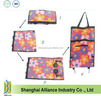 Flower Overall Printing Wheeled Trolley Shopping Cart Bag