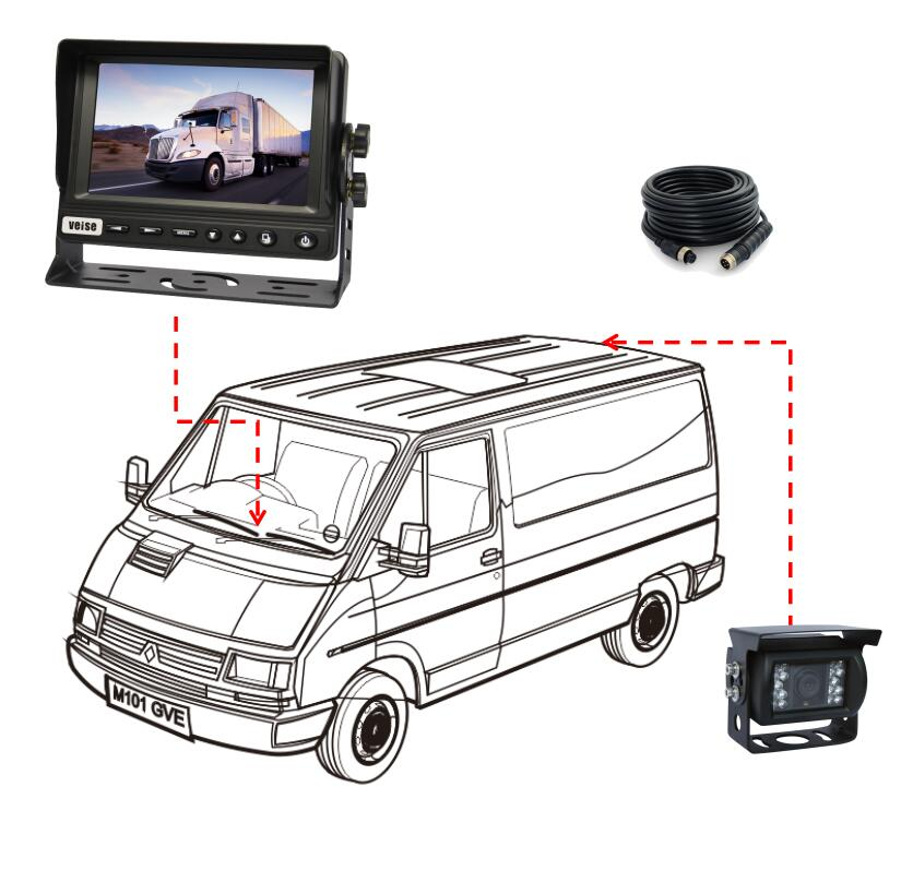 7 inch LCD Monitor 8-32V Rear View Backup Camera System for Vehicle, Truck, Loader