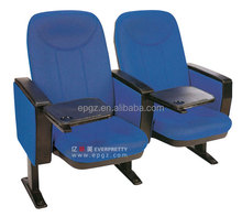 Wooden Armrest Auditorium Chairs with Tablet/Fixed Metal folding Audience Auditorium Seat Price