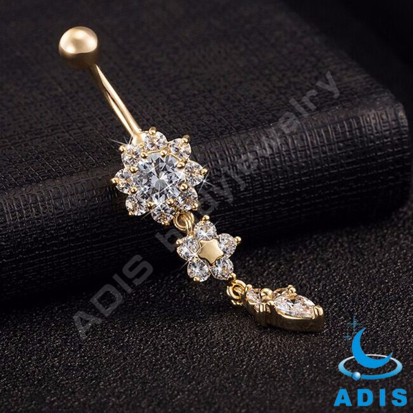 Latest design gold plated cz flower dangle belly button jewelry belly ring for women