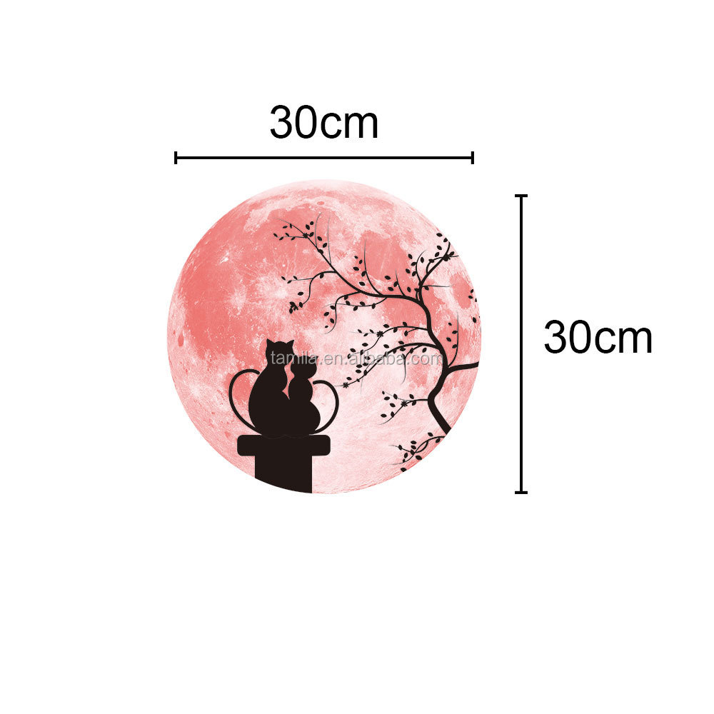 valentine day gifts adhesive fluorescent sweet cat sticker removable pvc cartoon night glowing stickers for home decoration