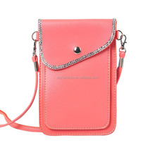 wholesale Lady PU Leather Mobile Phone Pouch Mini Shoulder Bag