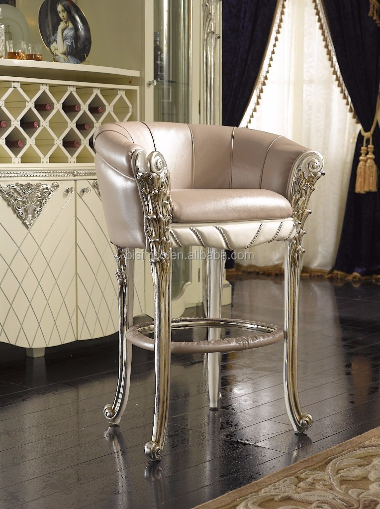 Comfortable French Louis XV Style Bar Chair, Silver Foil Leather Seat Bar Chair