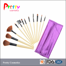 12pcs beginners brush makeup set with beautiful satin bag synthetic hair plastic handle with aluminum ferrule accept private log