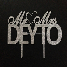 Glitter Wedding Cake Topper Mr and Mrs Cake Topper With Last Name