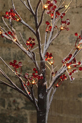 twig red berry snow tree with led lights