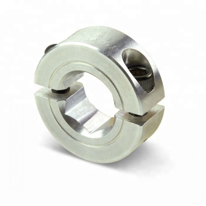 3/8inch Aluminum Two-Piece Clamp Style Hex Bore Double Split Shaft Collar