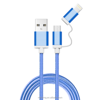 Mobile accessories of 2 In 1 mfi certificated Usb Data Charger Cable For iPhone and for Android smart phone