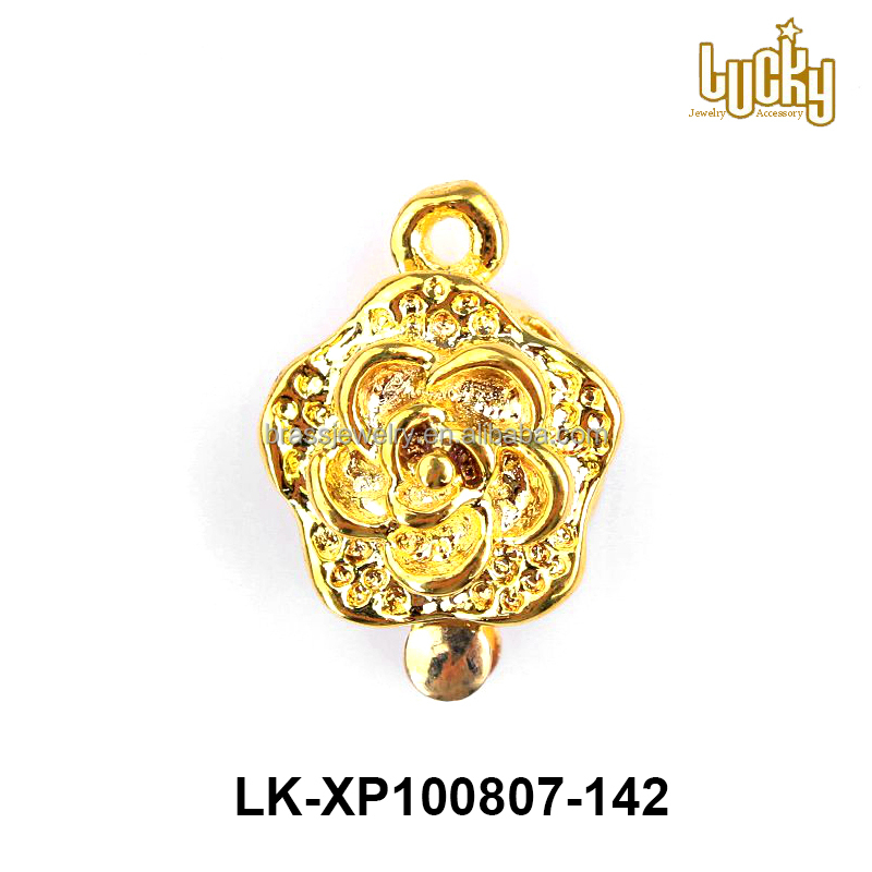 China manufacturers 24k gold plated brass jewelry findings box metal clasp for necklace