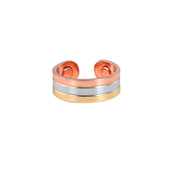 Two tone health jewelry wholesale heart copper ring magnetic band silver/gold tone