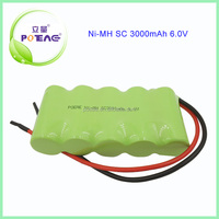 Ni-mh type and sc size 3000mah 6v battery