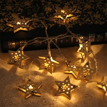 Best Selling Festival Decoration Warm White Star Shape Wooden String Lights