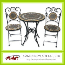 2016 Patio Mosaic Tile Metal Garden Table And Chair Cheap Outdoor Cast Iron Garden Furniture