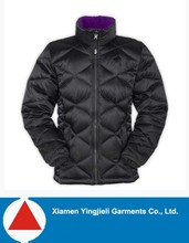 Nylon face OEM woman quilted winter padded jacket,with hood simple design China high workmanship in north american