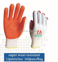 latex coated rubber palm antiskid safety gloves with high quality