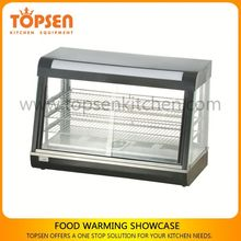 New design fast food restaurant food warmer, curved glass restaurant food warmer/showcase