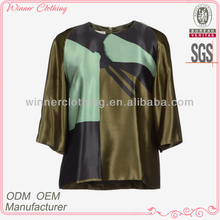 Ladies' fashion long sleeves color combination high quality and best price latest cutting for ladies blouse