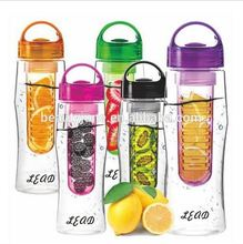 New Functional Use Fashion Clear Color Sports Health Fruit Infusing Infuser Water Case Lemon Juice Make Bottle