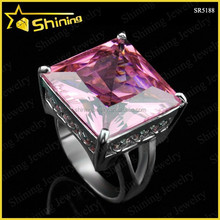SOLITAIRE ENGAGEMENT RING wholesale 925 sterling silver wedding ring square pink colored stone silver ring