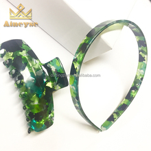Custom Cute Cellulose Acetate Daily Hair Accessories Kids Green Hairbands and Hair Claws