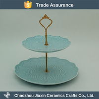 High quality 2 layer blue porcelain cake plates