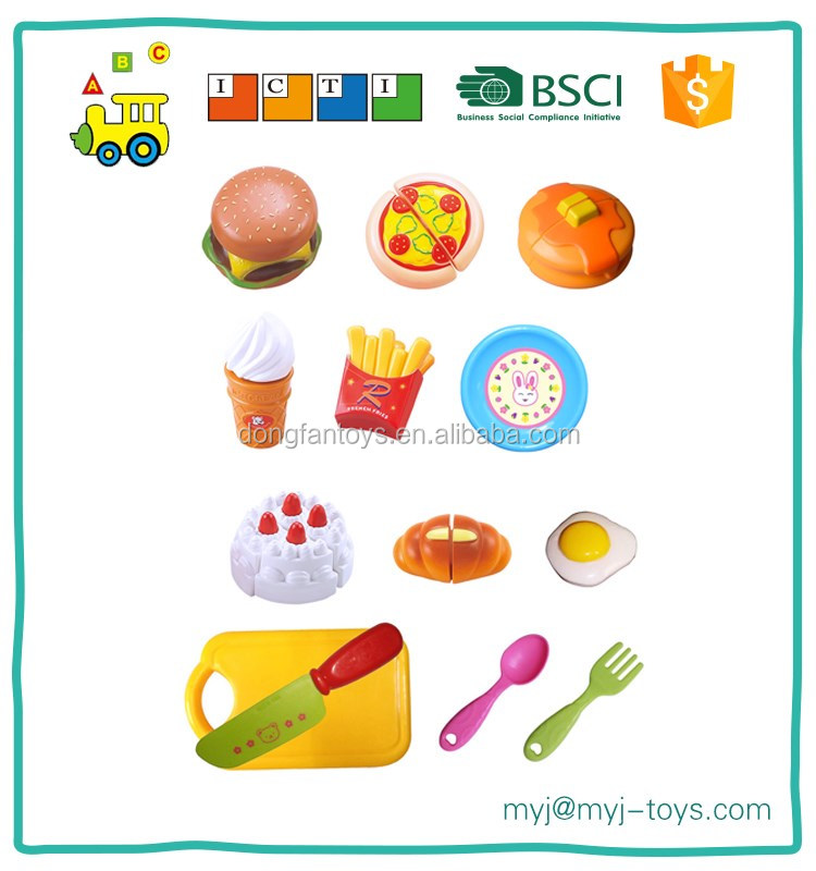 Children's plastic educational cutting toys big kitchen set fast food play set