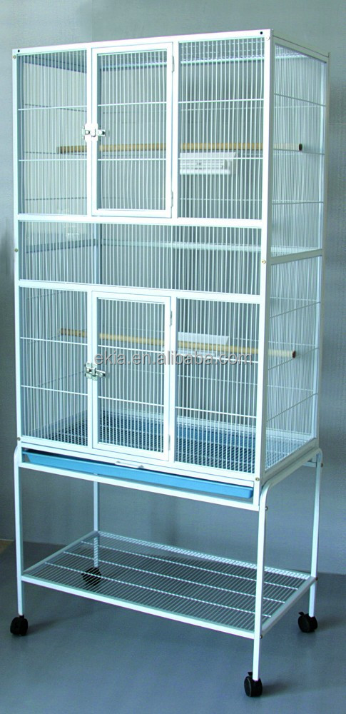 Removable Birds Budgie Canary Aviary Finch Parrot Cage with Stand Wheels