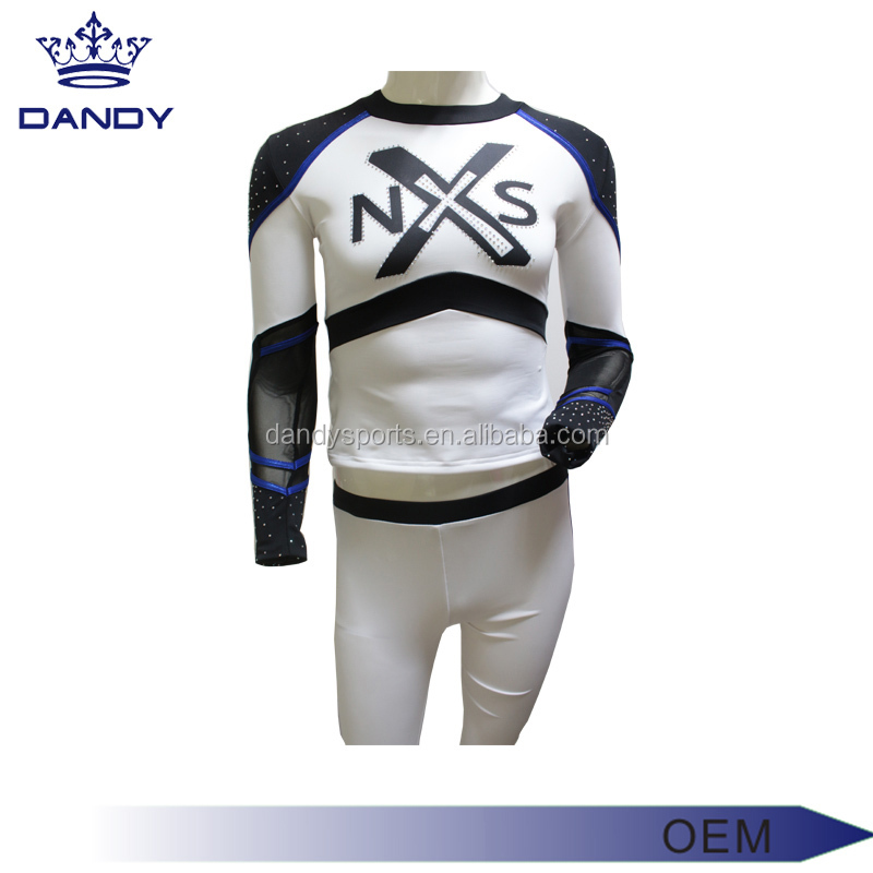 Custom Wholesale Mesh Rhinestones custom cheerleading uniforms with crystals factory cheaper price