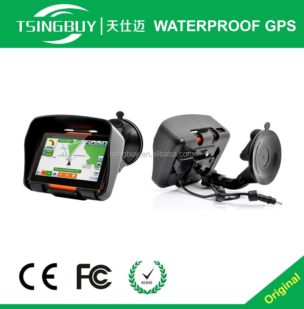 Hot selling 4.3 inch motorcycle waterproof GPS navigator with bluetooth