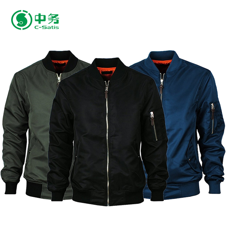 Wholesale Custom Made Logo Embroidered 100% Polyester Men Plain Bomber Jacket