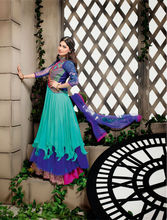 Sea Green Georgette & Net Wedding Wear Embroidery Designer Anarkali Salwar Kameez