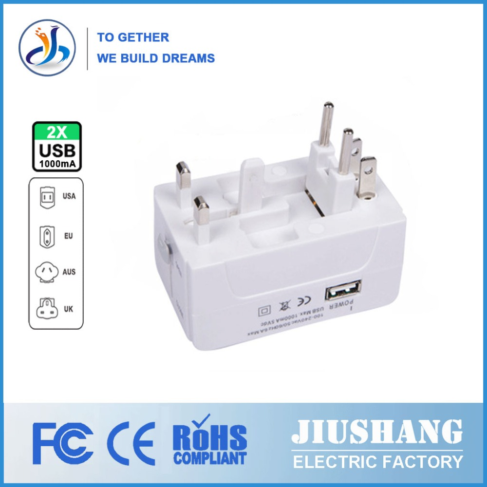 Universal All in 1 Travel Adapter 2 USB Port Power Adapter Plug Charger Adaptor with AU US UK EU Plug