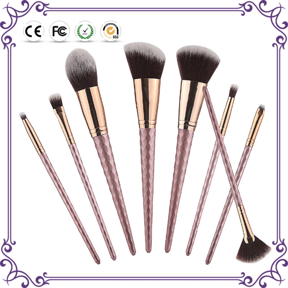 2017 New 8pcs coffee color complete set wholesale metalic makeup brushes with fan brushes