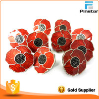 Factory Wholesale Transparent Red Poppy Lapel Pin Badge
