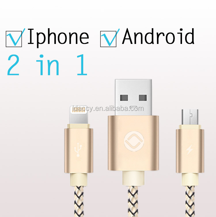 High quality usb <strong>cable</strong> 2in1for Iphone micro USB nylon braided charging cord data <strong>cable</strong> for android