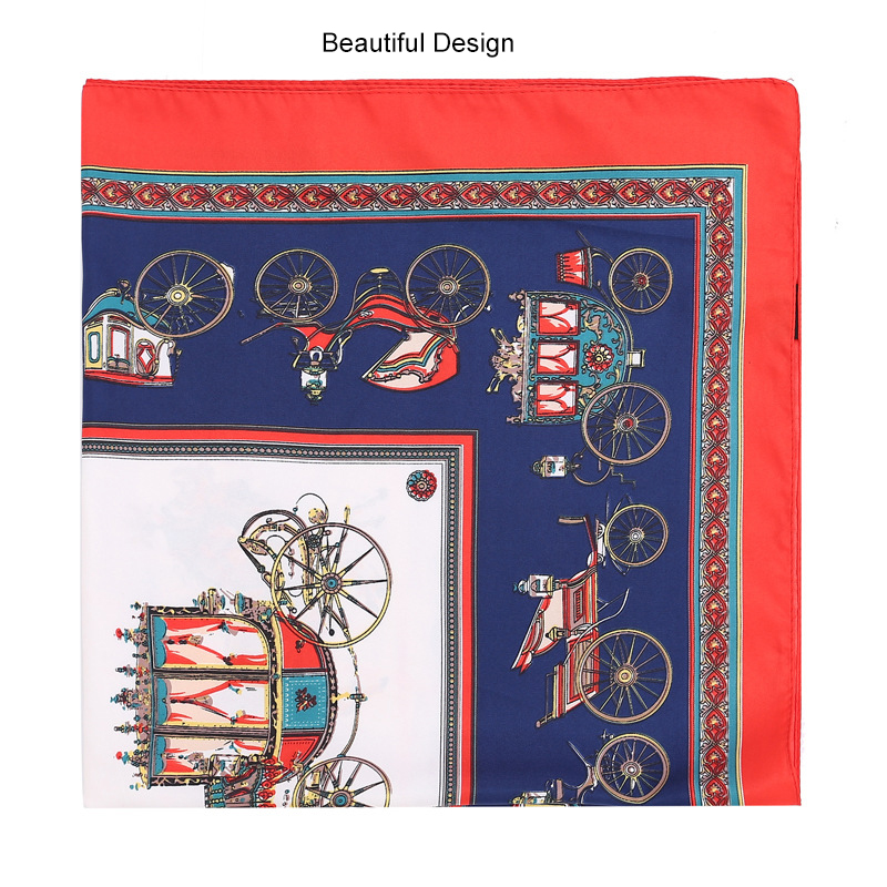 Foulard de soie Grand Satin Châle Mode Motif Wrap Luxueux Léger Foulard pour les Femmes