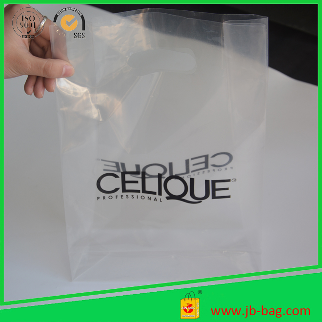 good looking - transcolor printed plastic shopping bags square bottom type punch hole handle