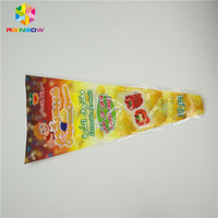 Plastic special triangle shape sweet popcorn snack packing bag