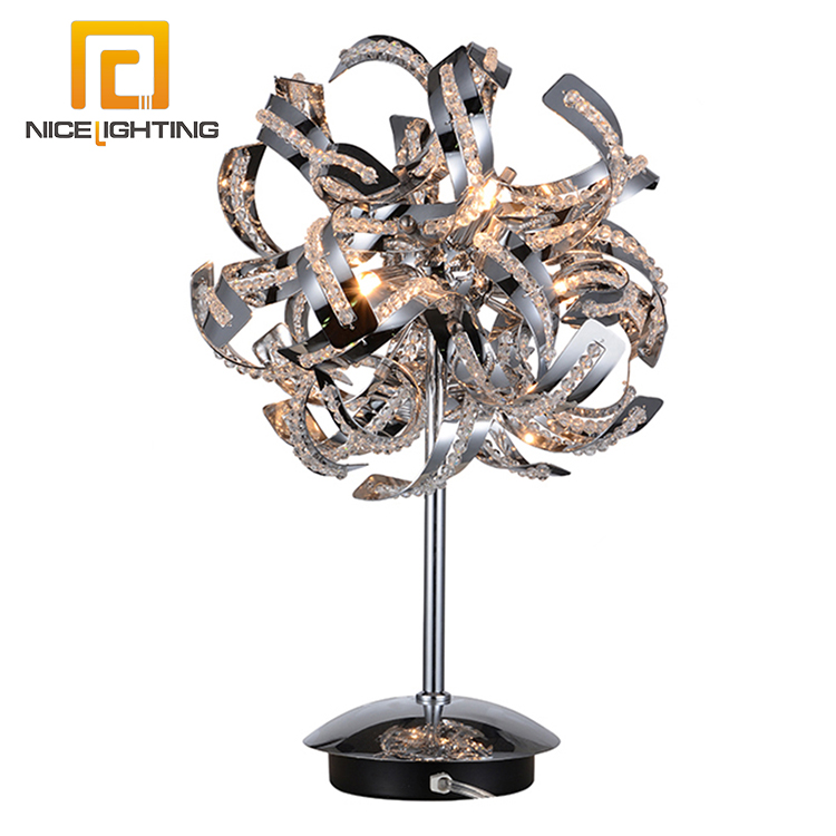 NICE lighting Decor Chrome Fireworks design desk light Crystal fancy iron metal table <strong>lamp</strong>